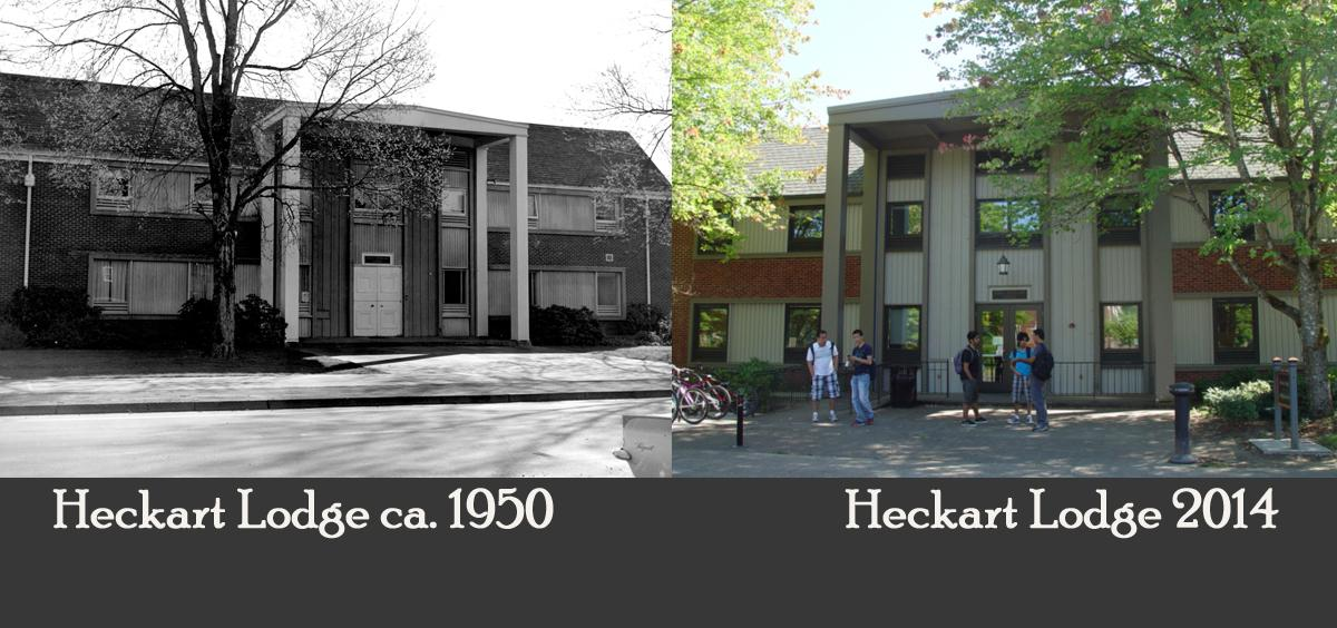 Pictures of Heckart Lodge around 1950 and in 2014